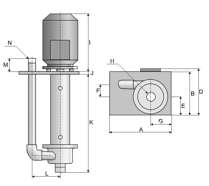 Metal Vertical pumps dimensional drawing