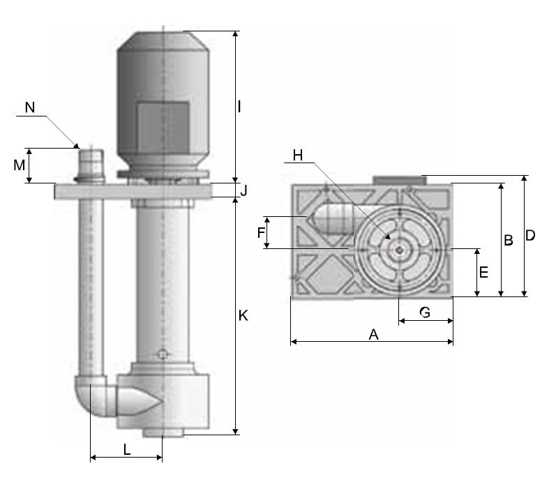 Plastic Vertical pumps dimensional drawing